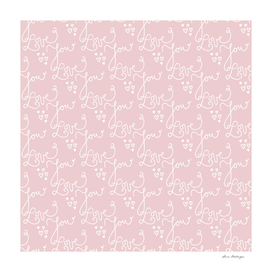 Seamless patterns with Love You text and hearts