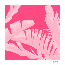 Chill Pink Tropical Banana Leaves Design