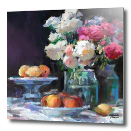 Still Life with White & Pink Roses