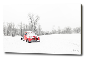 Old Red Farm Truck in Winter