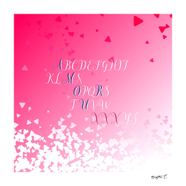 Amour Alphabet Love Rose Pink Glitter Design