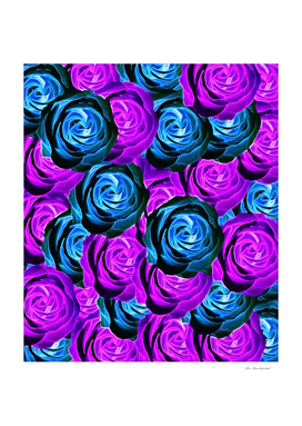 blooming rose pattern abstract in purple and blue