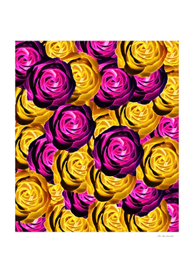 blooming rose pattern abstract in pink and yellow