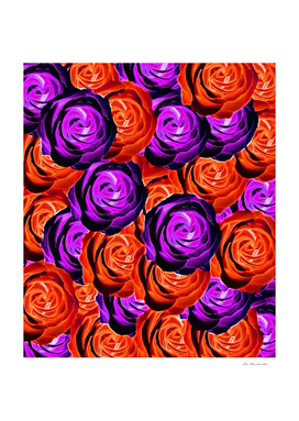 blooming rose pattern abstract in purple and orange
