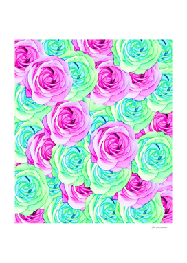 blooming rose pattern abstract in pink and green