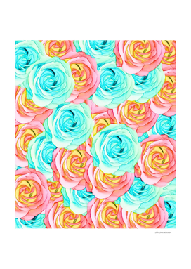 blooming rose pattern texture abstract in red green yellow
