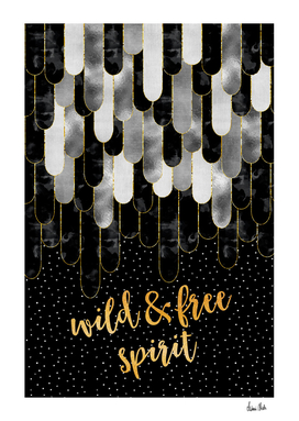 Graphic Art Feathers WILD & FREE SPIRIT | black