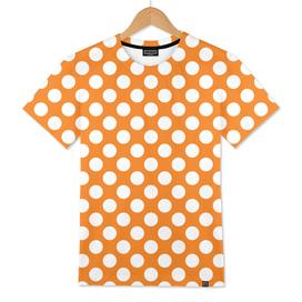 White Polka Dots with Orange Background