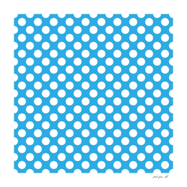 White Polka Dots with Blue Background