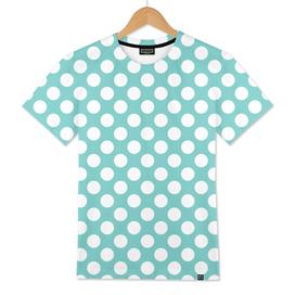 White Polka Dots with Aqua Background
