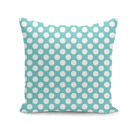 White Polka Dots with Aqua Background
