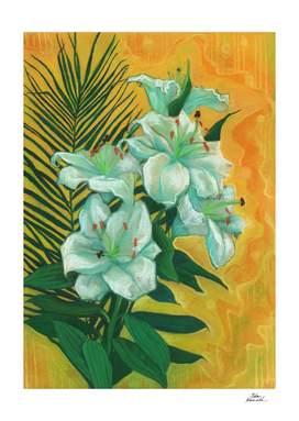 White Lilies and Palm Leaf, Spring Flowers, Floral Painting