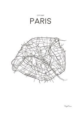 PARIS MINIMALIST MAP WHITE