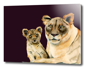 Motherhood | Mother Lion and Cub Watercolor Painting