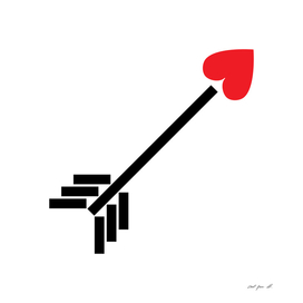 Red Heart Black Arrow Design