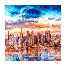 Cityscape Art Starry Style