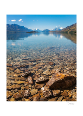 Beautiful alpine view from the shore of Lake Wakatipu