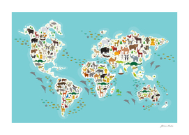 Cartoon animal world map, Animals from all over the world