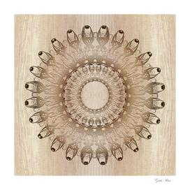 Ethnic mandala on wood background