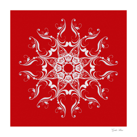 Baroquè style on  red background.