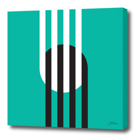 Circle & Stripes on Turquoise