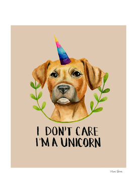 """I'M A UNICORN"" Pit Bull Dog Illustration"