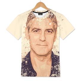 George Clooney splatter painting