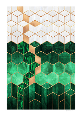 Emerald Cubes And Hexagons