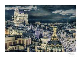 Madrid Cityscape Night Scene Aerial View