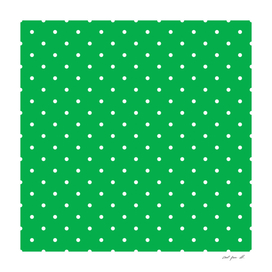 Small White Polka Dots with Green Background