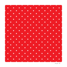 Small White Polka Dots with Red Background