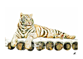 Tiger on wooden stage low detail oil painting simulation