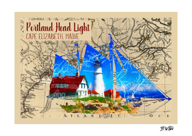 Portland Head Light with Map
