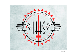 Religious Christian symbols and Jesus hands