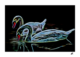 Swangs couple on the lake neon color