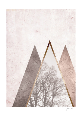 Nordic triangle geometric nature in rose gold
