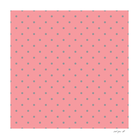 Grey Dots with Coral Pink Background
