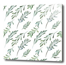 Watercolor seamless pattern with olives
