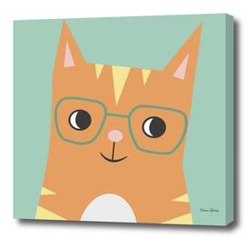 Tabby Cat with Glasses
