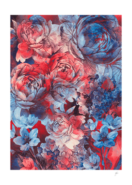 flowers red and blue pattern #flowers