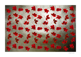 Red Leaves on Silver Golden Metal
