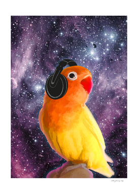 Bird Listening to Music in Outer Space