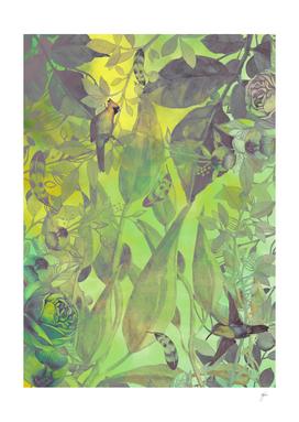 flowers pattern green #flowers