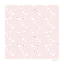 White swan pattern on pink