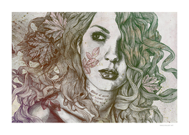 Wake: Autumn (street art woman with maple leaves tattoo)