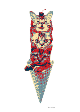 Cats in a waffle cone