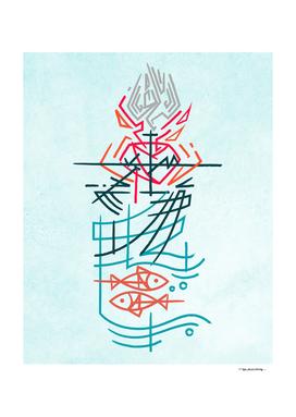 Religious christian symbols ink illustration