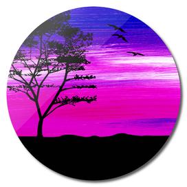 Black tree with birds silhouette