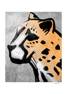 Cheetah head ink hand drawn vector illustration