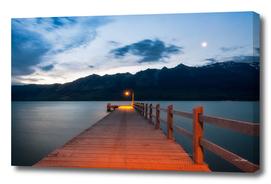 Moon rising at Glenorchy Wharf, New Zealand